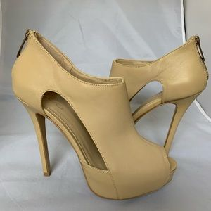 Also leather open toe bootie pumps